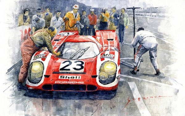 Wall Art - Painting - 1970 Le Mans 24 Porsche917k Attwood Herrmann Winner  by Yuriy Shevchuk