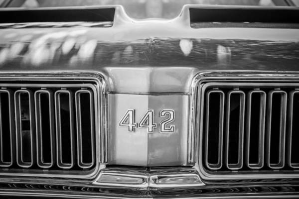 Photograph - 1970 Oldsmobile 442 Convertible Emblem -0989bw by Jill Reger