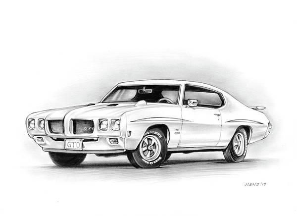 Wall Art - Drawing - 1970 Pontiac Gto Judge by Greg Joens