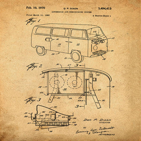 Wall Art - Photograph - 1970 Vw Bus Patent by Bill Cannon