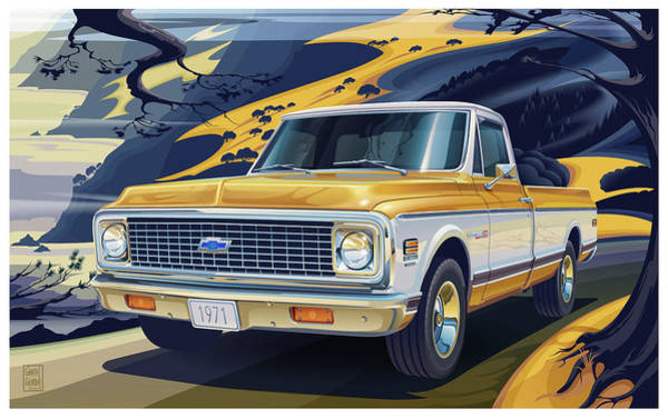 Truck Digital Art - 1971 Chevrolet C10 Cheyenne Fleetside 2wd Pickup by Garth Glazier