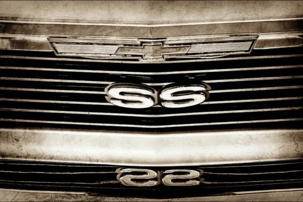 Photograph - 1971 Chevrolet Nova Ss350 Grille Emblem -0372s by Jill Reger