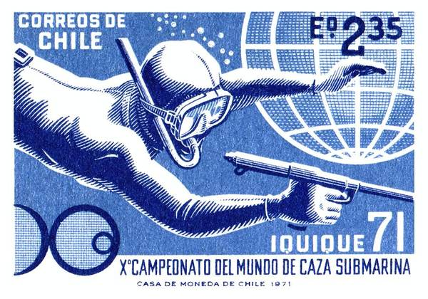 Dive Digital Art - 1971 Chile Spearfishing Championship Postage Stamp by Retro Graphics