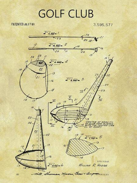 Drawing - 1971 Golf Club Patent by Dan Sproul