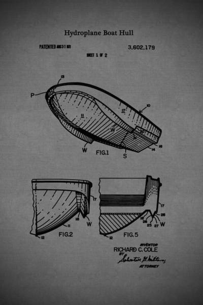 Drawing - 1971 Hydroplane Boat Hull Patent by Barry Jones