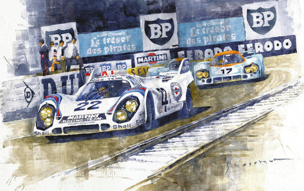 Wall Art - Painting - 1971 Le Mans Winner 24 Porsche 917k #22 by Yuriy Shevchuk
