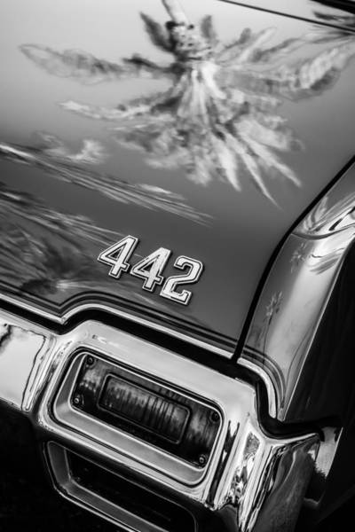 Photograph - 1971 Oldsmobile 442 Convertible Taillight Emblem -0445bw by Jill Reger