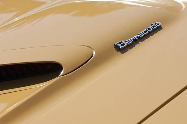 Convertible Photograph - 1971 Plymouth Barracuda Convertible 318 Ci Hood Emblem by Jill Reger