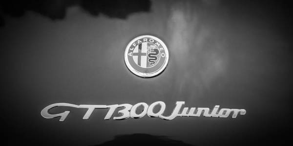 Photograph - 1972 Alfa Romeo Gt 1300 Junior Unificato Emblem -0875bw by Jill Reger