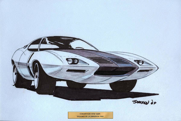 Wall Art - Drawing - 1972 Barracuda  Cuda Plymouth Vintage Styling Design Concept Sketch  by John Samsen