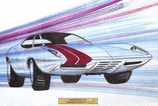 Wall Art - Drawing - 1972 Barracuda  Vintage Styling Design Concept Sketch by John Samsen
