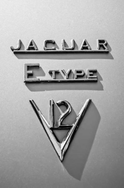Photograph - 1972 Jaguar E-type V12 Roadster Emblem -0286bw by Jill Reger