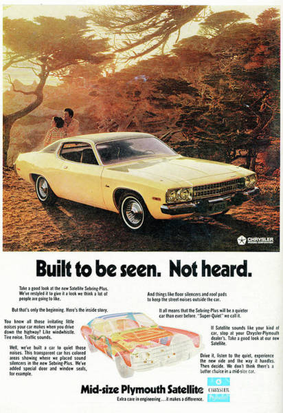 Wall Art - Photograph - 1972 Mid-size Plymouth Satellite Vintage Car Ad by Edward Fielding