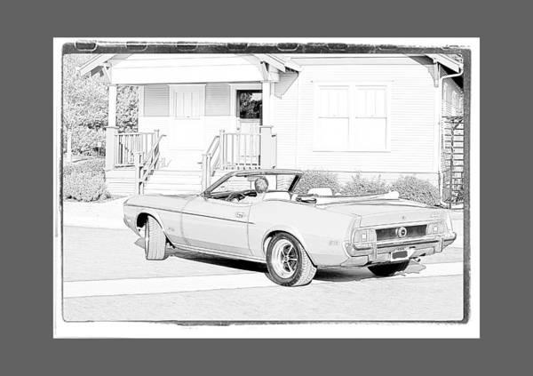 Mustang Convertible Mixed Media - 1972 Mustang Convertible by Jeff Ewing
