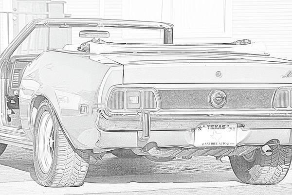 Mustang Convertible Mixed Media - 1972 Mustang Convertible Rear End by Jeff Ewing