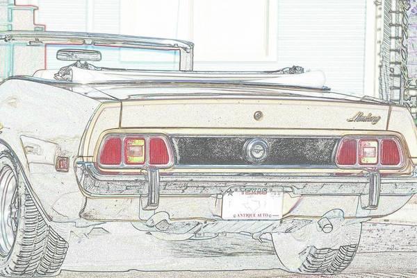 Mustang Convertible Mixed Media - 1972 Mustang Convertible Rear by Jeff Ewing