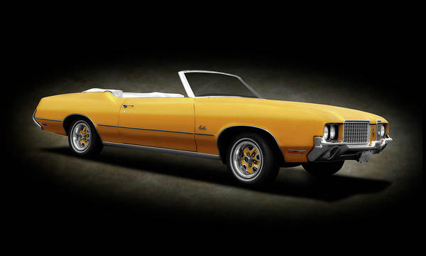 Wall Art - Photograph - 1972 Oldsmobile Cutlass Convertible  -  972oldscutlasscvspotextcpy185954 by Frank J Benz