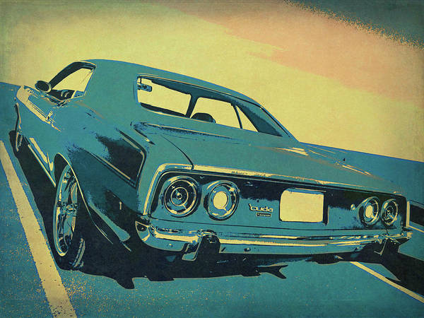 Digital Art - 1972 Plymouth Barracuda Blue by David King