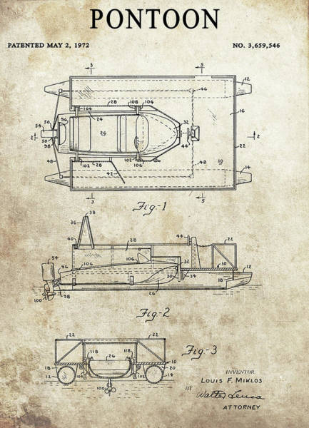 Drawing - 1972 Pontoon Patent by Dan Sproul