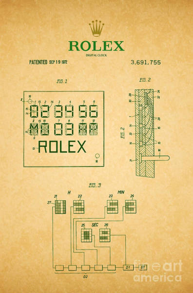 Vintage Patent Wall Art - Digital Art - 1972 Rolex Digital Clock Patent 2 by Nishanth Gopinathan