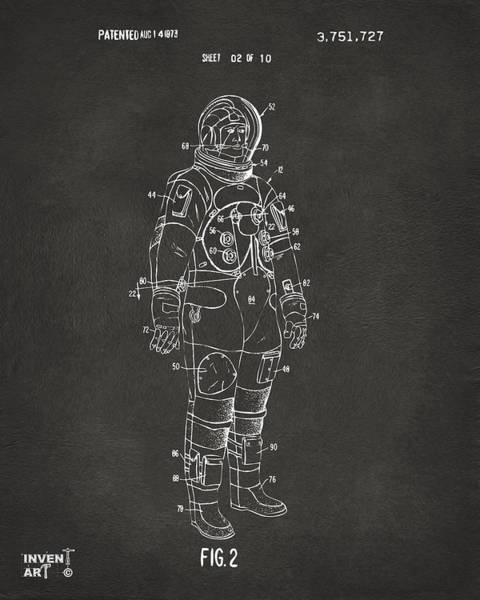 Wall Art - Digital Art - 1973 Astronaut Space Suit Patent Artwork - Gray by Nikki Marie Smith