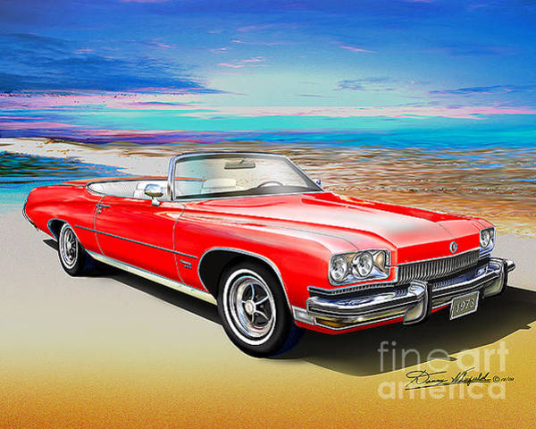Car Drawings Mixed Media - 1973 Buick Centurion 455 Convertible  by Danny Whitfield