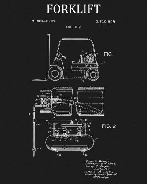 Wall Art - Drawing - 1973 Forklift Patent by Dan Sproul