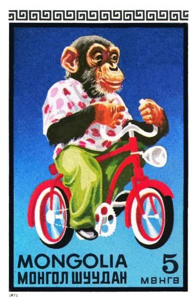 Wall Art - Digital Art - 1973 Mongolia Chimpanzee Riding Bicycle Postage Stamp by Retro Graphics