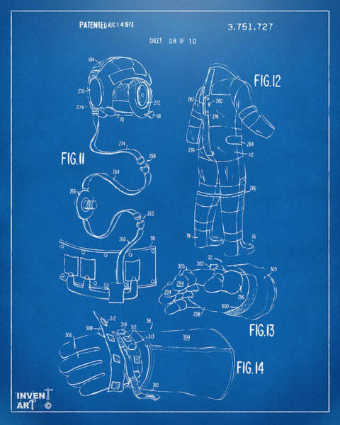 Wall Art - Digital Art - 1973 Space Suit Elements Patent Artwork - Blueprint by Nikki Marie Smith