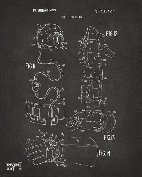 Wall Art - Digital Art - 1973 Space Suit Elements Patent Artwork - Gray by Nikki Marie Smith
