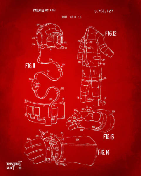 Digital Art - 1973 Space Suit Elements Patent Artwork - Red by Nikki Marie Smith