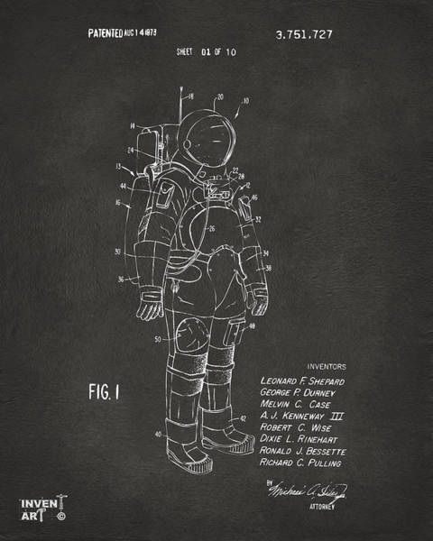 Astronaut Digital Art - 1973 Space Suit Patent Inventors Artwork - Gray by Nikki Marie Smith