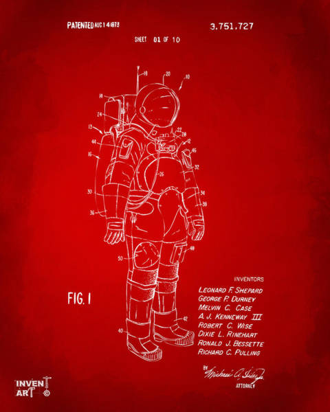 Wall Art - Digital Art - 1973 Space Suit Patent Inventors Artwork - Red by Nikki Marie Smith