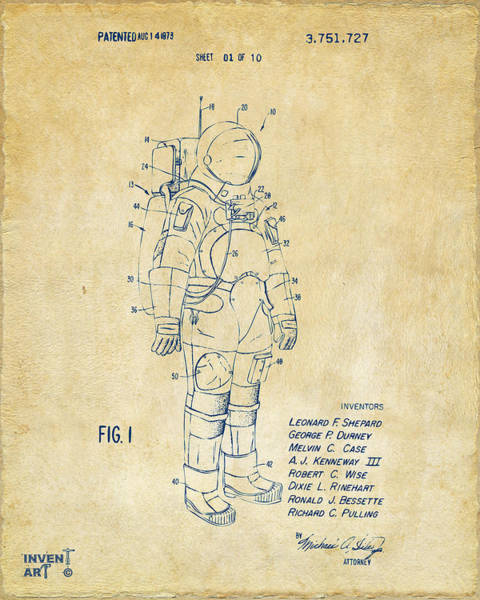 Wall Art - Digital Art - 1973 Space Suit Patent Inventors Artwork - Vintage by Nikki Marie Smith