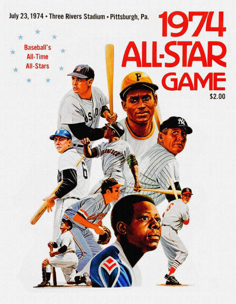 Mickey Mantle Wall Art - Painting - 1974 Baseball All Star Game Program by John Farr