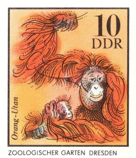 Wall Art - Digital Art - 1975 East Germany Zoo Orangutan Postage Stamp by Retro Graphics