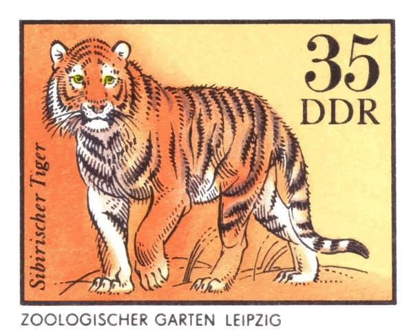 Wall Art - Digital Art - 1975 East Germany Zoo Tiger Postage Stamp by Retro Graphics