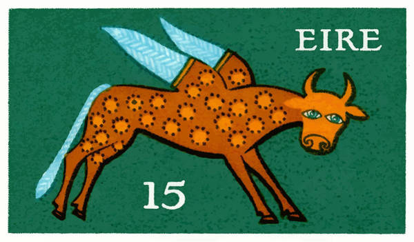 Eire Digital Art - 1975 Ireland Winged Ox Postage Stamp  by Retro Graphics