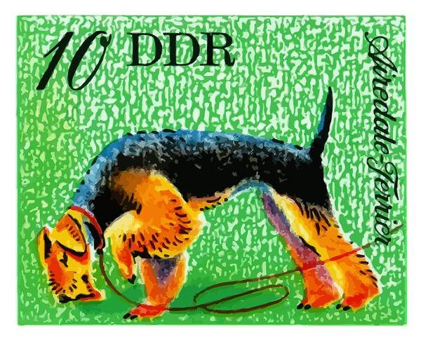 Canine Digital Art - 1976 Germany Airedale Terrier Postage Stamp by Retro Graphics