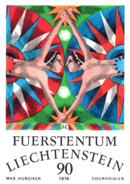 Zodiac Wall Art - Digital Art - 1976 Liechtenstein Gemini Postage Stamp by Retro Graphics