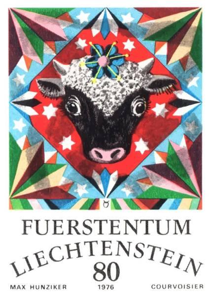 Zodiac Wall Art - Digital Art - 1976 Liechtenstein Taurus Postage Stamp by Retro Graphics