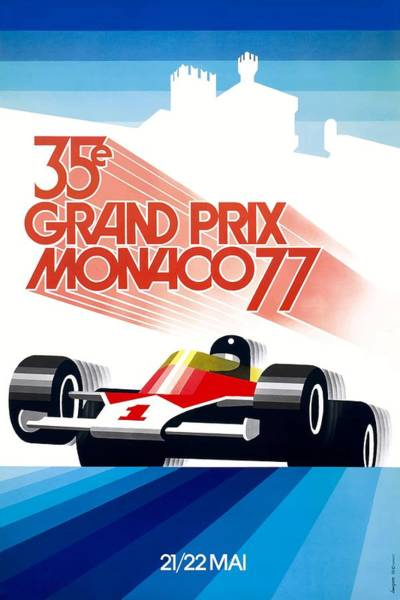 Wall Art - Digital Art - 1977 Monaco Grand Prix Racing Poster by Retro Graphics