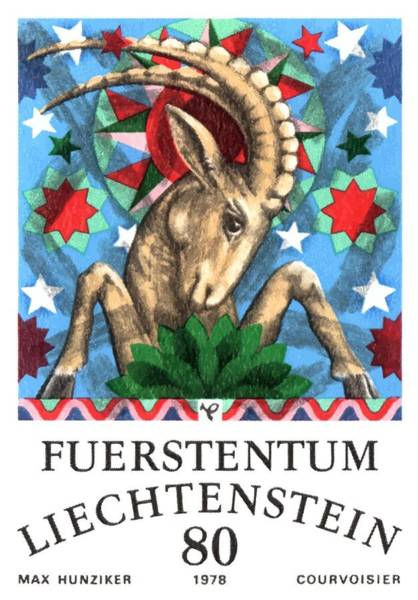 Zodiac Wall Art - Digital Art - 1978 Liechtenstein Capricorn Postage Stamp by Retro Graphics
