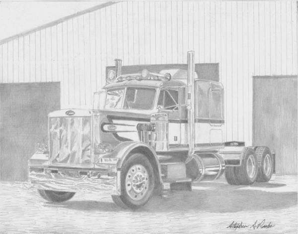 Semi Truck Drawing - 1978 Peterbilt Classic 359 Semi Truck Art Print by Stephen Rooks