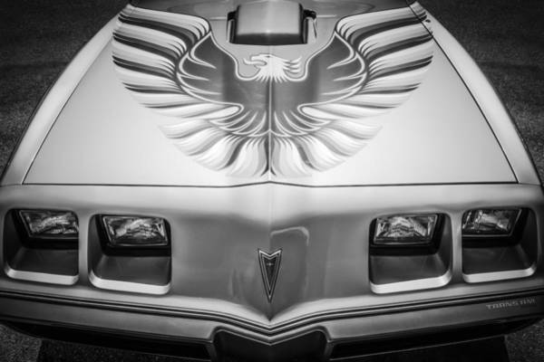 Wall Art - Photograph - 1979 Pontiac Trans Am Hood Firebird -0812bw by Jill Reger