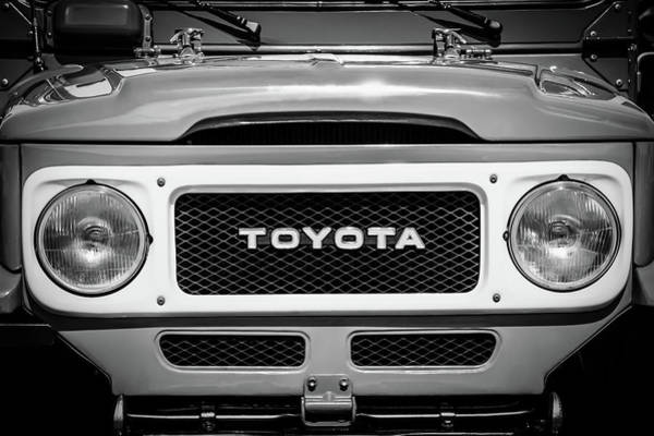 Photograph - 1982 Toyota Fj43 Land Cruiser Grille Emblem -0522bw by Jill Reger