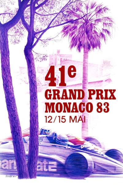 Formula 1 Digital Art - 1983 Monaco Grand Prix Racing Poster by Retro Graphics