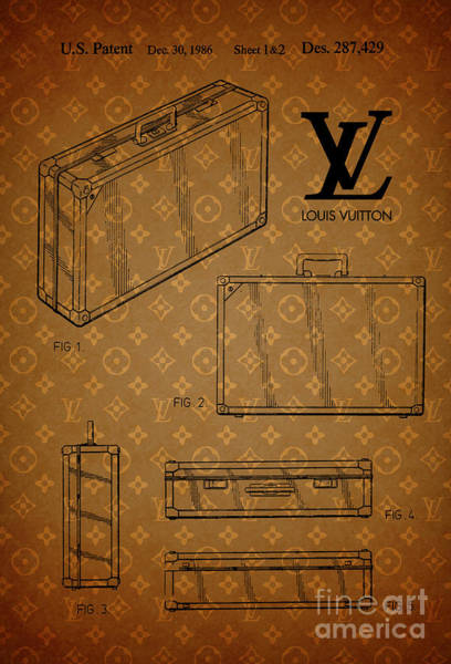 Wall Art - Drawing - 1986 Louis Vuitton Suitcase Patent 3 by Nishanth Gopinathan