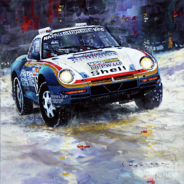 Wall Art - Painting - 1986 Porsche 959/50 #185 2nd Dakar Rally Raid Ickx, Brasseur by Yuriy Shevchuk