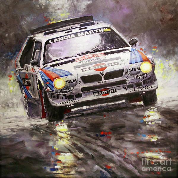 Wall Art - Painting - 1986 Rallye Monte-carlo  Lancia Delta S4 Lancia Martini  Toivonen Cresto Winner by Yuriy Shevchuk